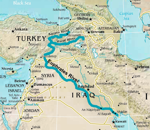 Middle East Map Euphrates River.About Euphrates River 7 Plagues Of God