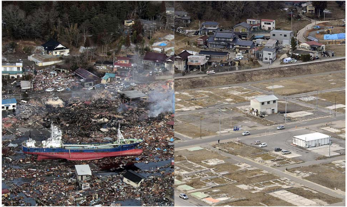 Before: The No. 18 Kyotokumaru fishing vessel was swept away from a port in Kesennuma, Miyagi prefecture. This is the scene on March 12, 2011. (Kyodo News).  After: March 4, 2013. (Kyodo News)