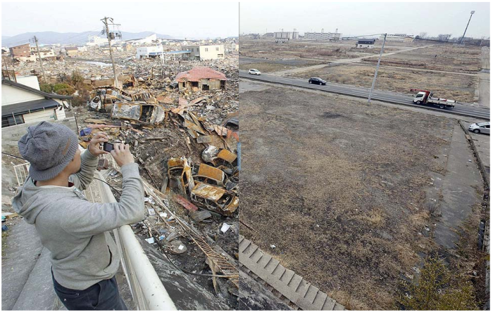 Before: A view of Ishinomaki, Miyagi prefecture, on March 19, 2011. (Kyodo News).  After: March 1, 2013. (Kyodo News)