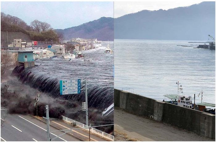 Before: Waves breech an embankment in Miyako, Iwate prefecture, on March 11, 2011. (Toru Yamanaka / AFP/Getty Images).  After: Jan. 16, 2012. (Toru Yamanaka / AFP/Getty Images)