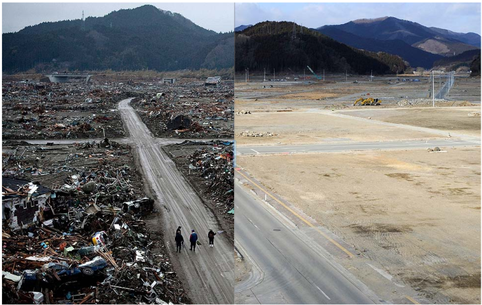 Before: Rikuzentakata city, Iwate prefecture, on March 22, 2011. (Toru Yamanaka / AFP/Getty Images)  After: Jan. 15, 2012. (Nicolas Asfouri / AFP/Getty Images)