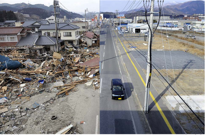 Before: Ofunato, Iwate prefecture, on March 14, 2011. (Toshifumi Kitamura / AFP/Getty Images)  After: Jan. 15, 2012. (Toru Yamanaka / AFP/Getty Images)