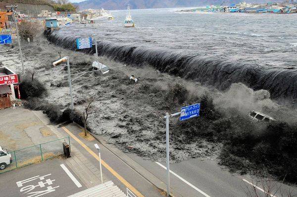 Wave of Destruction Photograph from Mainichi Shimbun/Reuters A tsunami wave crashes over a street in Miyako City, Iwate Prefecture, in northeastern Japan on March 11. Published March 15, 2011
